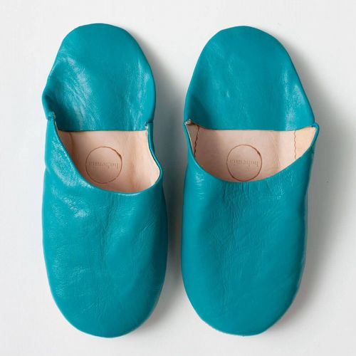 Women's Slippers - Leather Mules - Aqua Blue